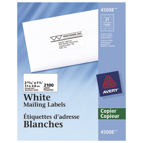 """Avery 2-13/16"""" x 1-1/2"""" Copier Mailing Label (AVE45008) - 2100 Pack - White"""