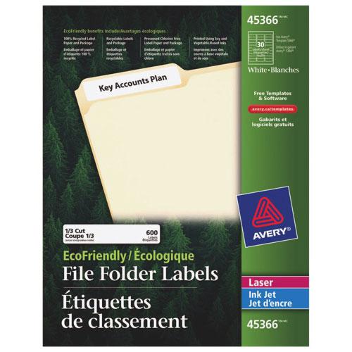Étiquettes de dossier 3 7/16 x 2/3 po d'Avery (AVE45366C)