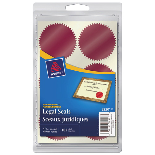 avery 1 15 16 round legal seals ave32301 102 pack red
