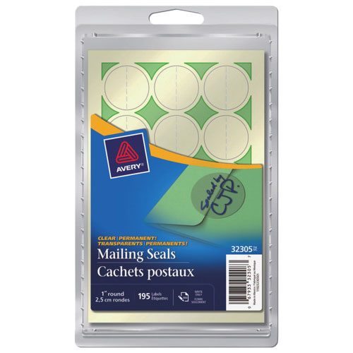 """Avery 1"""" Round Mailing Seals (AVE32305) - 195 Pack - Clear"""