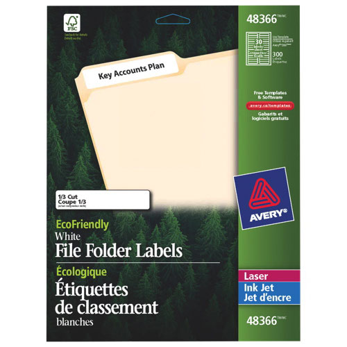 "Avery EcoFriendly 3-7/16"" x 2/3"" File Folder Label (AVE48366) - 150 Pack - White"