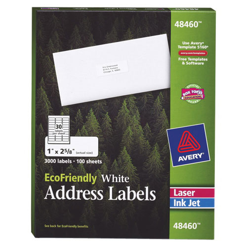 """Avery Eco-Friendly 1"""" x 2-5/8"""" Mailing Label (AVE48460) - 3000 Pack - White"""