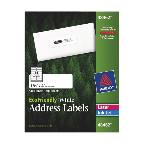 "Avery EcoFriendly 4"" x 1-1/3"" Mailing Label (AVE48462) - 1400 Pack - White"