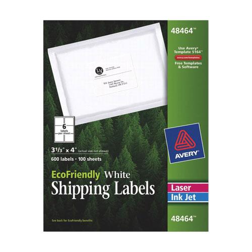 Étiquettes d'adresse 4 X 3 1/3 po d'Avery (AVE48464) - Blanc