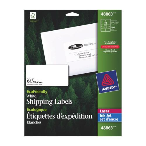 Étiquettes d'adresse 2 X 4 po écologiques d'Avery (AVE48863) - Paquet de 100 - Blanc