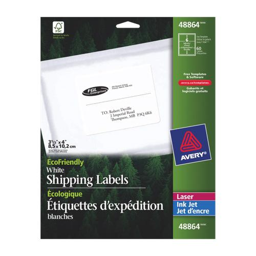 Étiquettes d'adresse 4 X 3 1/3 po d'Avery (AVE48864) - Blanc
