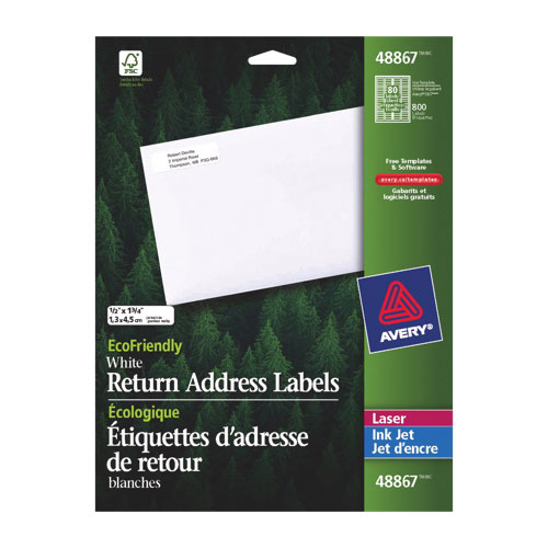 "Avery 1/2"" x 1 3/4"" Mailing Label (AVE48867) - White"