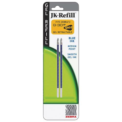 Zebra Pen 0.7MM JK Gel Pen Refill (ZEB88122) - 2 Pack - Blue