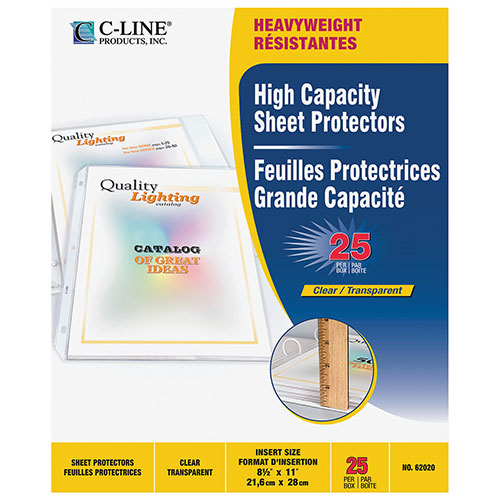 Protège-documents haute capacité en polypropylène de C-Line (CLI62020) - Paquet de 25 - Transparent