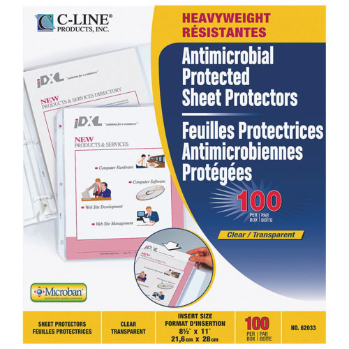 C-Line Prolypropylene Top Loading Sheet Protectors With Antimicrobial Protection - 100 Pack - Clear