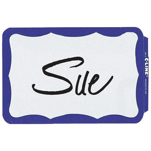 C-Line Pressure Sensitive Name Badges (CLI92265) - 100 Pack - Blue