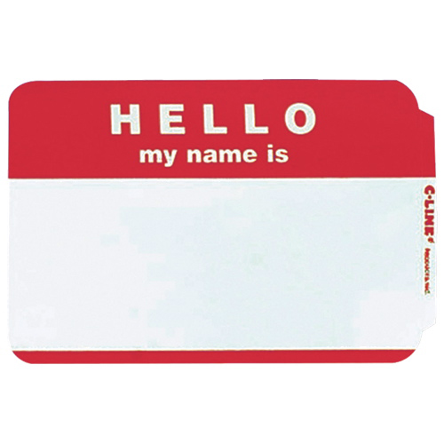 """C-Line Pressure Sensitive """"Hello my name is"""" Name Badges (CLI92234) - 100 Pack - Red"""