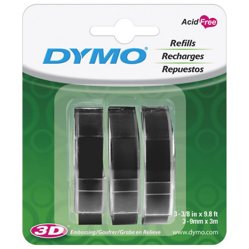 Ruban de gaufrage brillant de Dymo (DYM1741670) - Paquet de 3 - Noir