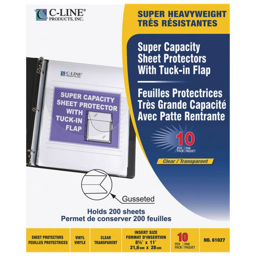 C-Line Super Capacity Sheet Protector With Tuck-In Flap - 10 Pack - Clear