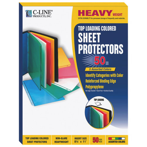 C-Line Colored Polypropylene Sheet Protectors (CLI62010) - 50 Pack - Assorted Colors