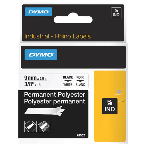 "Dymo 3/8"" x 18 ft Thermal Permanent Polyester Label (DYM20552) - White"