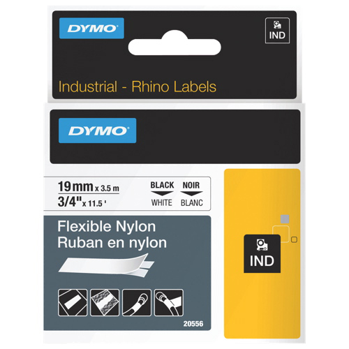 """Dymo 3/4"""" x 11 1/2 ft RhinoPro Flexible Wire and Cable Label (DYM20556) - Black/White"""