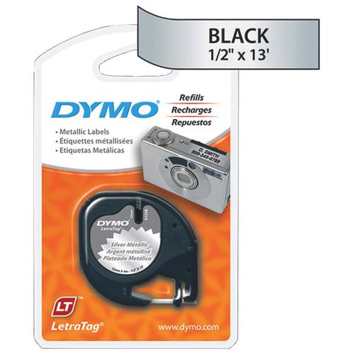 "Dymo 1/2"" x 13 ft LetraTag Metallic Tape (DYM91338) - Black"
