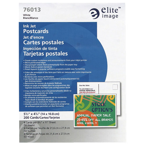 EliteImage Ink Jet Postcards (ELI76013) - 200 Pack - White
