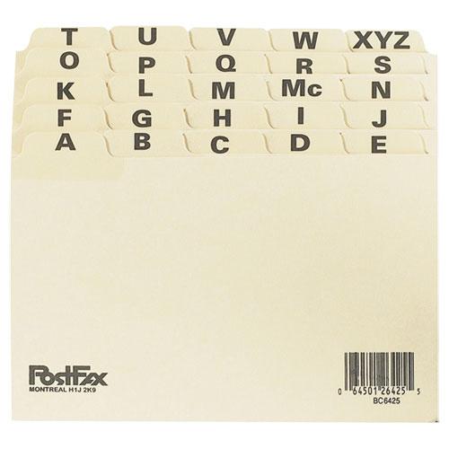 Séparateur à onglets alphabétiques de 4 po x 6 po d'Esselte (ESSBC6425) - Paquet de 25