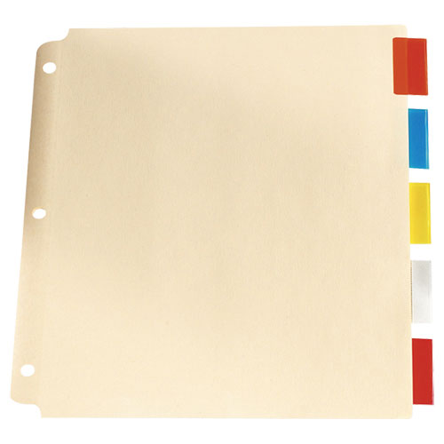 """Esselte 9.75"""" x 11"""" Loose Leaf Tab Indexes (ESSR215-5A) - 5 Pack - Assorted Colors"""