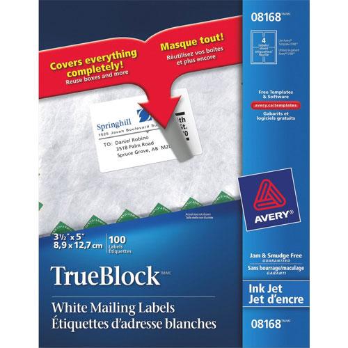 """Avery TrueBlock 3-1/2"""" x 5"""" Inkjet Mailing Label (AVE08168) - 100 Pack - White"""