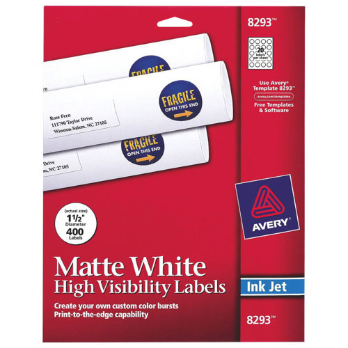 Avery Round Inkjet Labels (AVE08293) - 400 Pack - White