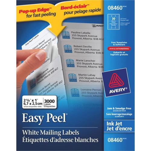 """Avery Easy Peel 1"""" x 2-5/8"""" Inkjet Mailing Labels (AVE08460) - 100 Pack - White"""