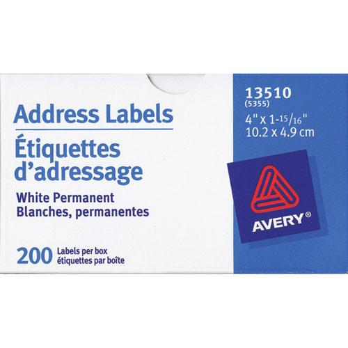 Étiquette d'adresse de 4 po x 1 15/16 po d'Avery (AVE13510) - 200 par rouleau