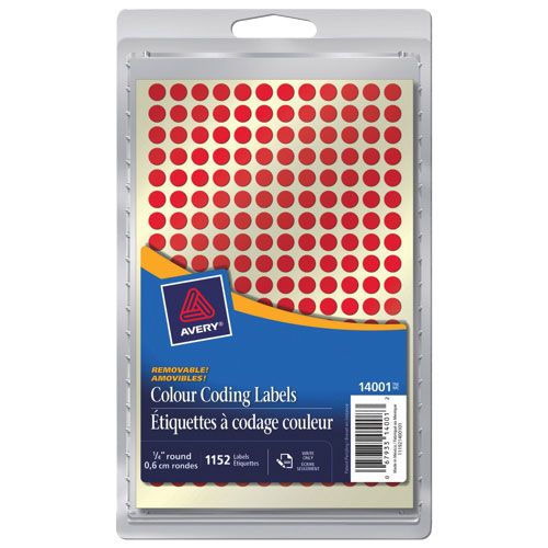 "Avery 1/4"" Round Coding Labels (AVE14001) - 1152 Pack - Red"