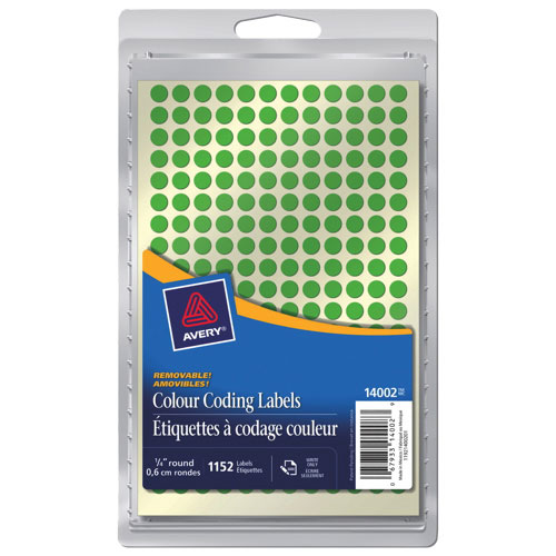 "Avery 1/4"" Round Coding Labels (AVE14002) - 1152 Pack - Green"