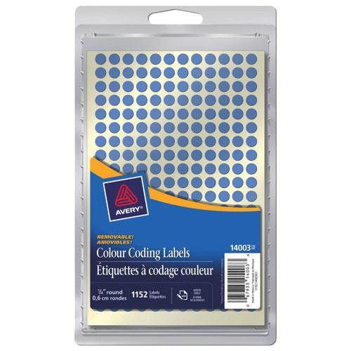 Étiquette ronde à code de couleur de 1/4 po d'Avery (AVE14003) - Paquet de 1152 - Bleu