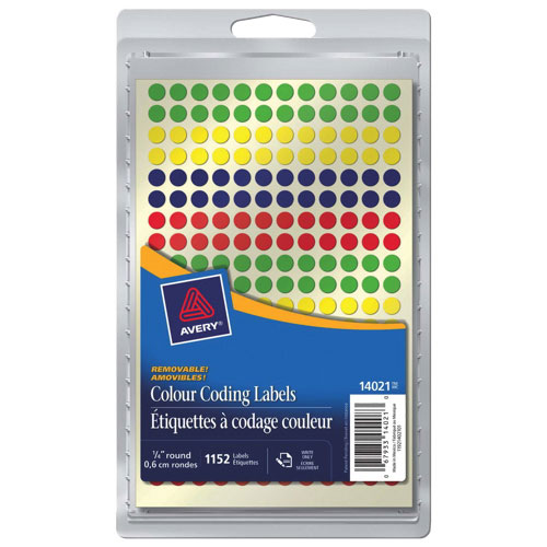 """Avery 1/4"""" Round Color Coding Labels (AVE14021) - 1152 Pack - Assorted Colors"""