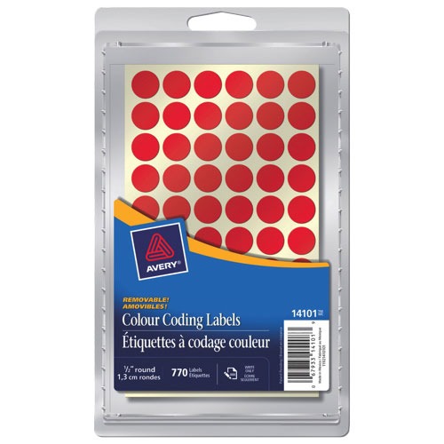 """Avery 1/2"""" Round Coding Labels (AVE14101) - 770 Pack - Red"""