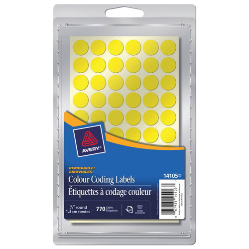 """Avery 1/2"""" Round Coding Labels (AVE14105) - 770 Pack - Yellow"""