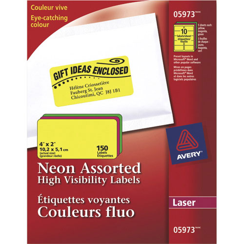 """Avery 4"""" x 2"""" Neon Laser Labels (AVE05973) - 150 Pack - Assorted Colors"""