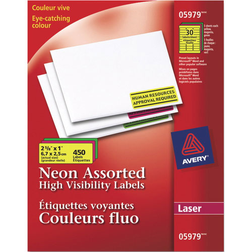"""Avery 2 5/8"""" x 1"""" Neon Laser Labels (AVE05979) - 450 Pack - Assorted Colors"""