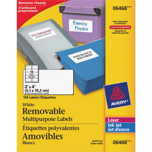 "Avery 2"" x 4"" Removable Multipurpose Laser Labels (AVE06468) - 120 Pack - White"