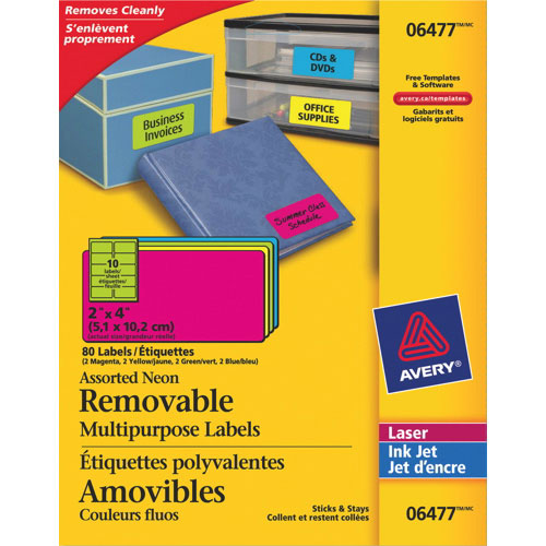 "Avery 4"" x 2"" Removable Multipurpose Labels (AVE06476) - 80 Pack - Assorted Neon"