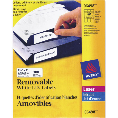 """Avery 2 5/8"""" x 1"""" Removable I.D. Laser Labels (AVE06498) - 300 Pack - White"""