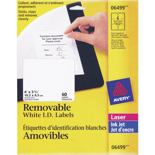 avery 4 x 3 1 3 removable i d laser labels ave06499 60 pack