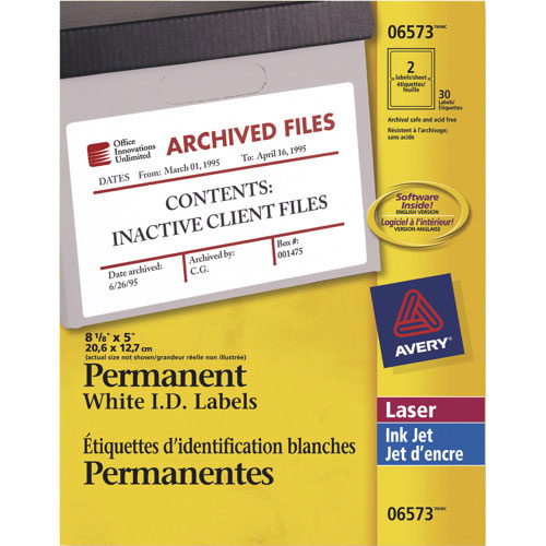 "Avery 8 1/8"" x 5"" Permanent I.D. Labels (AVE06573) - 30 Pack - White"