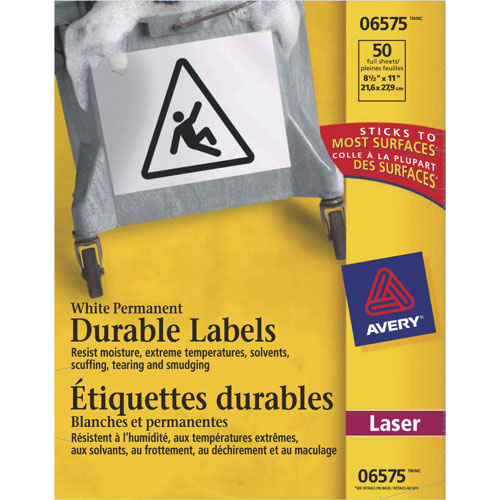 """Avery 8 1/2"""" x 11"""" Permanent Durable I.D. Labels (AVE06575) - 50 Pack - White"""