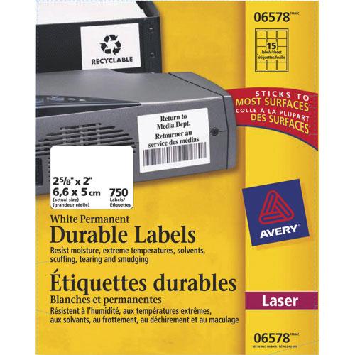 Étiquettes permanentes et durables de 2 5/8 x 2 po d'Avery (AVE06575) - Paquet de 750 - Blanc
