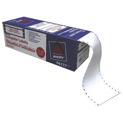 """Avery 3-1/2"""" x 15/16"""" Continuous Form Pin-Fed Mailing Labels (AVE04177) - 5000 Pack - White"""