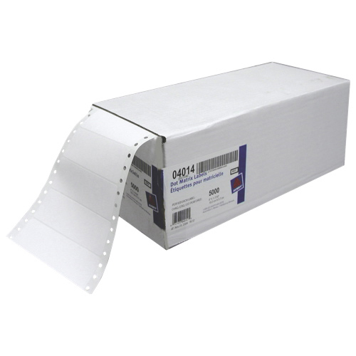 """Avery 4"""" x 1-7/16"""" Continuous Form Pin-Fed Mailing Labels (AVE04014) - 5000 Pack - White"""