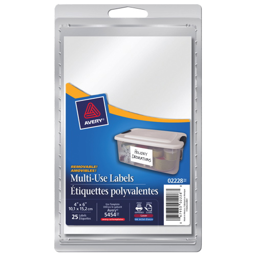 "Avery 6"" x 4"" Removable Multi-Use Label (AVE02228) - 25 Pack - White"
