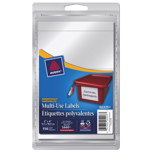 """Avery 2"""" x 4"""" Removable Multi-Use Label (AVE02225) - 114 Pack - White"""
