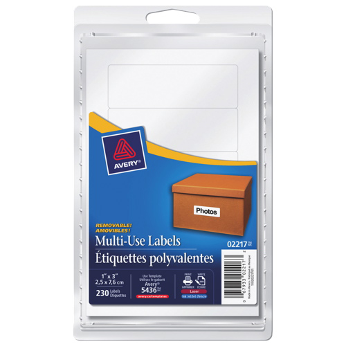"Avery 1"" x 3"" Removable Multi-Use Label (AVE02217) - 230 Pack - White"