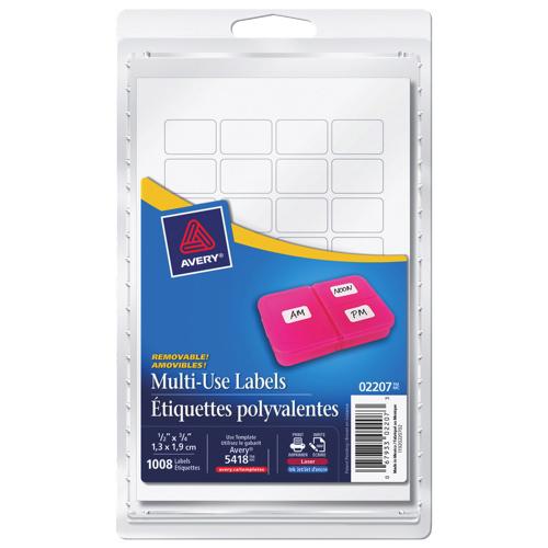 Étiquettes polyvalentes 1/2 x 3/4 po d'Avery (AVE02207) - Paquet de 1008